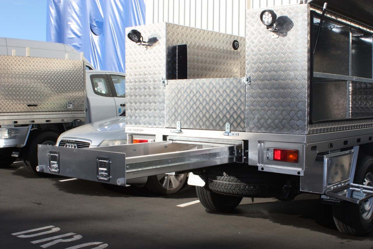 Commercial aluminium service body ute fitout with under floor drawer
