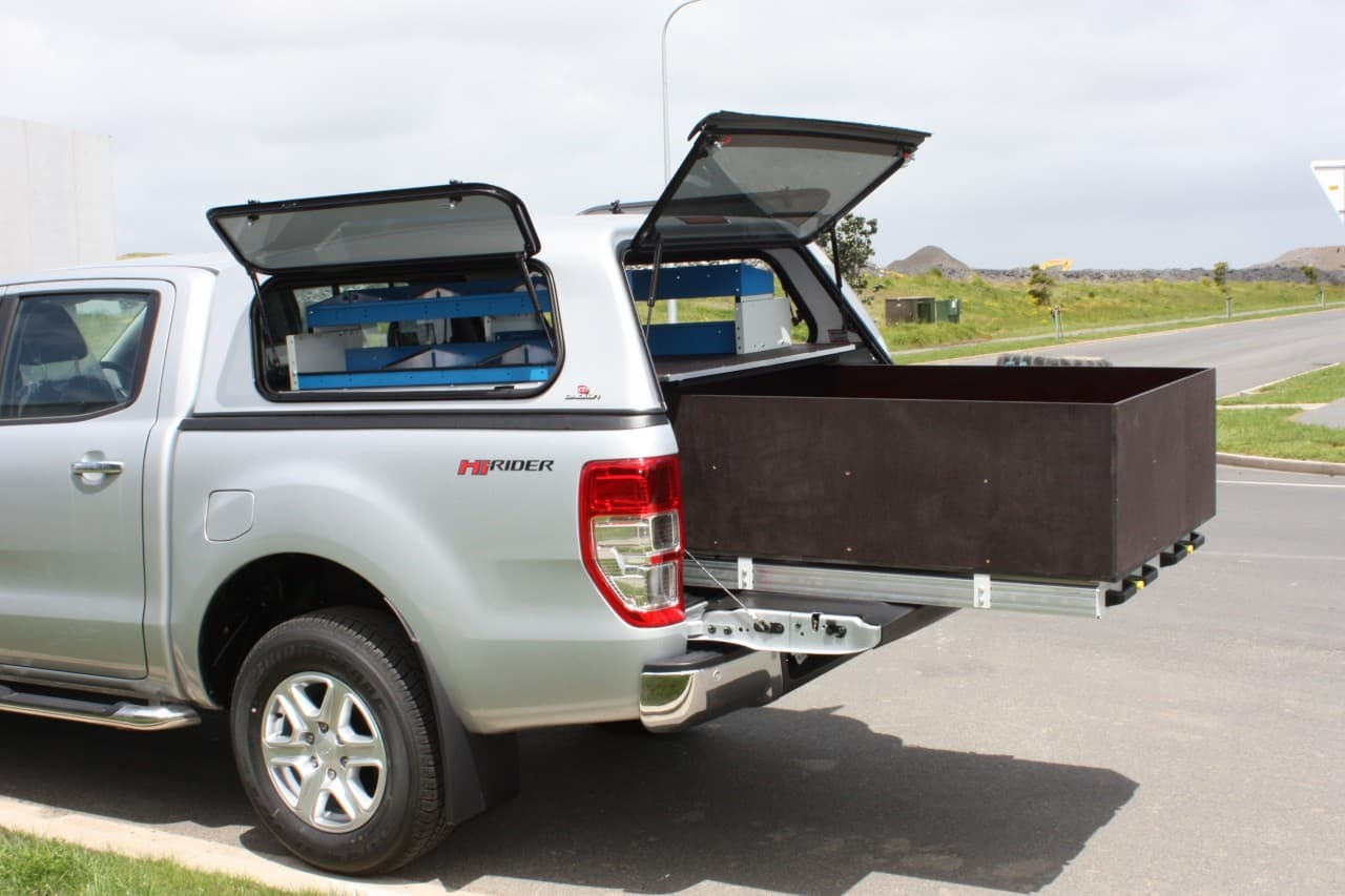 Commercial ute fitout with large drawers