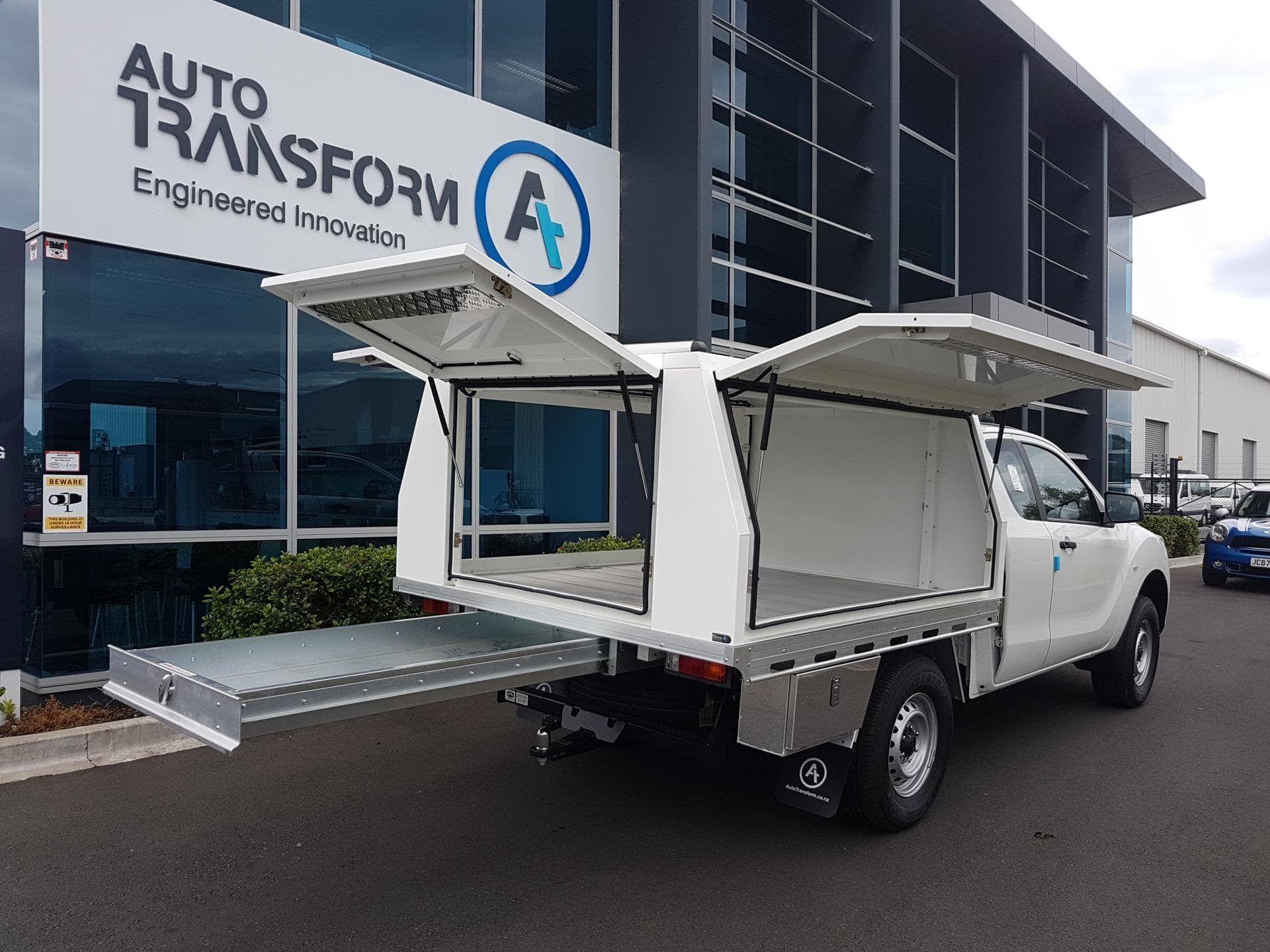 Commercial ute service body with open doors