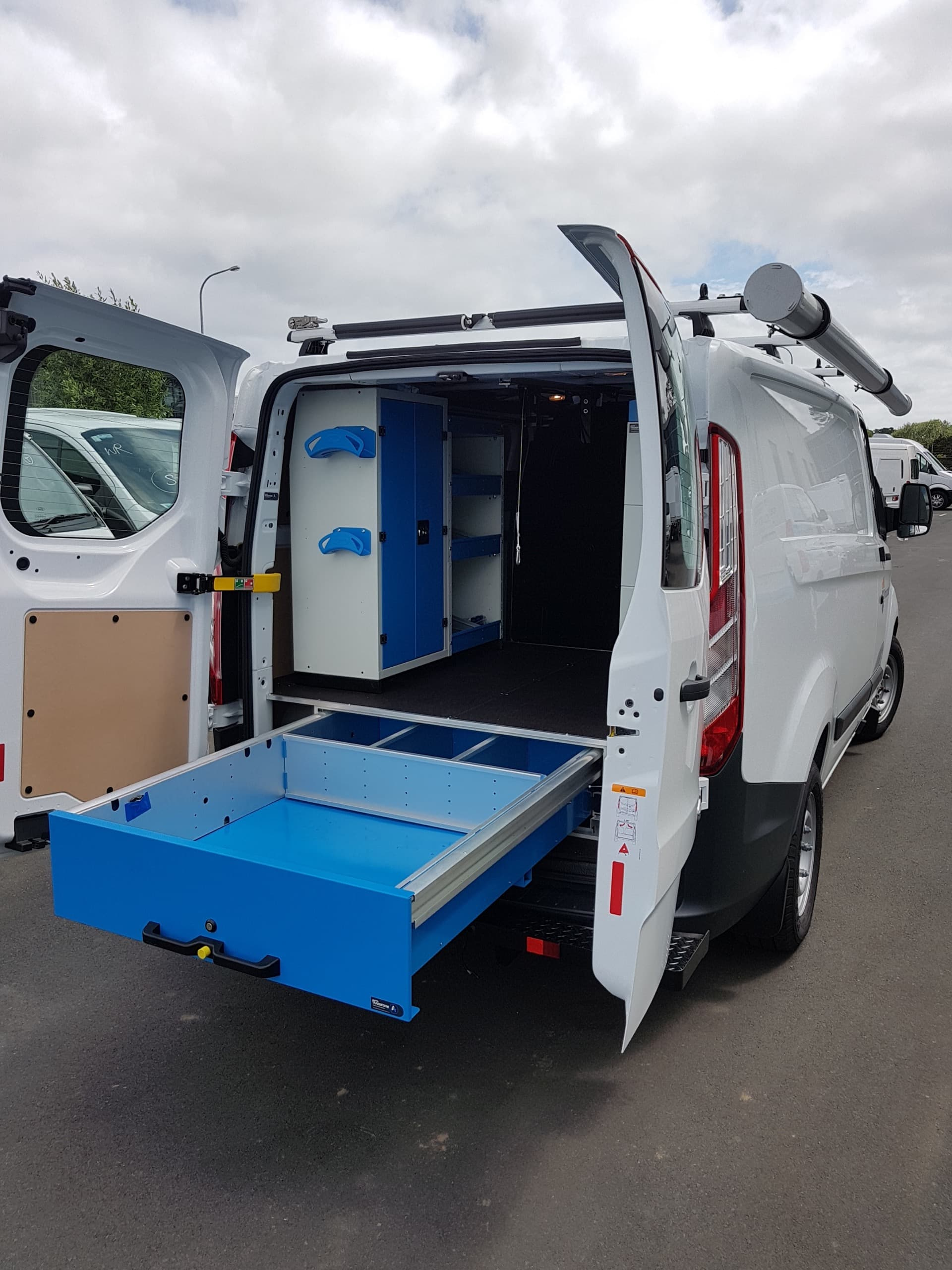 Commercial van fitout deep underfloor pull out drawer