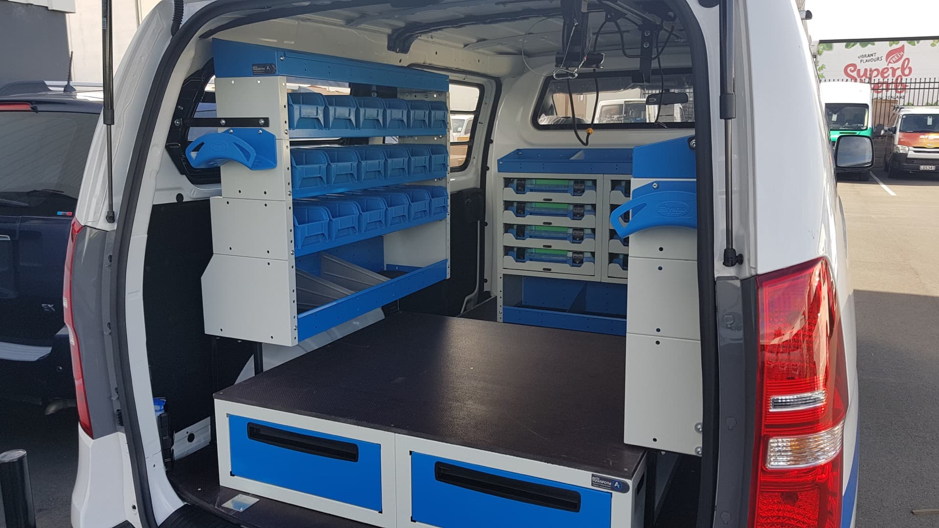 Commercial van fitout with drawers shelves and toolboxes