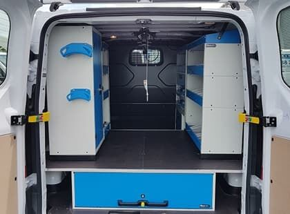 Commercial van fitout with storage