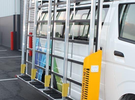 Glass transport system for van