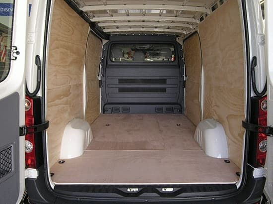 Commercial van fitout with ply lining