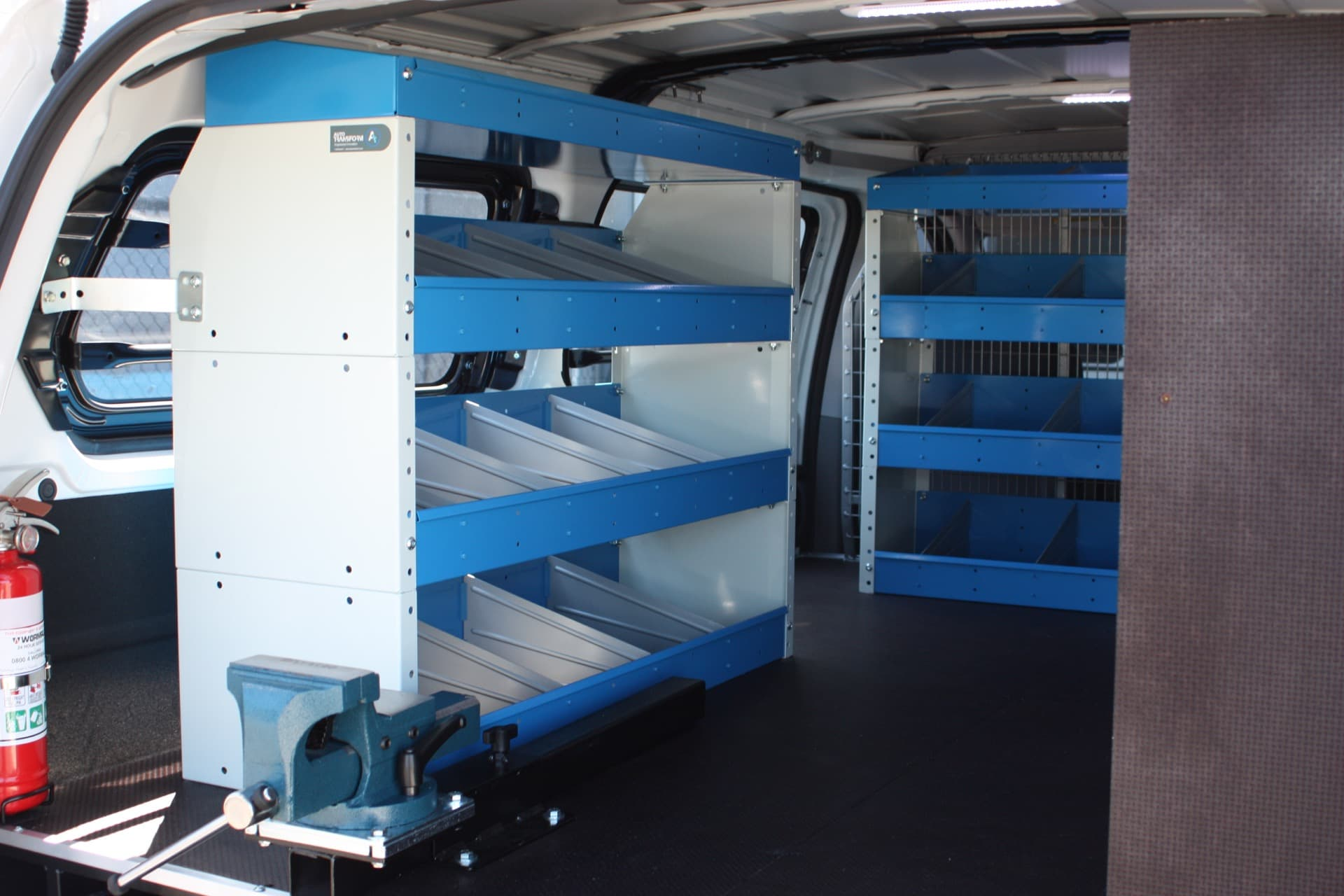 Commercial van fitout with shelves and drawers