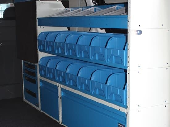 Commercial van fitout with shelving