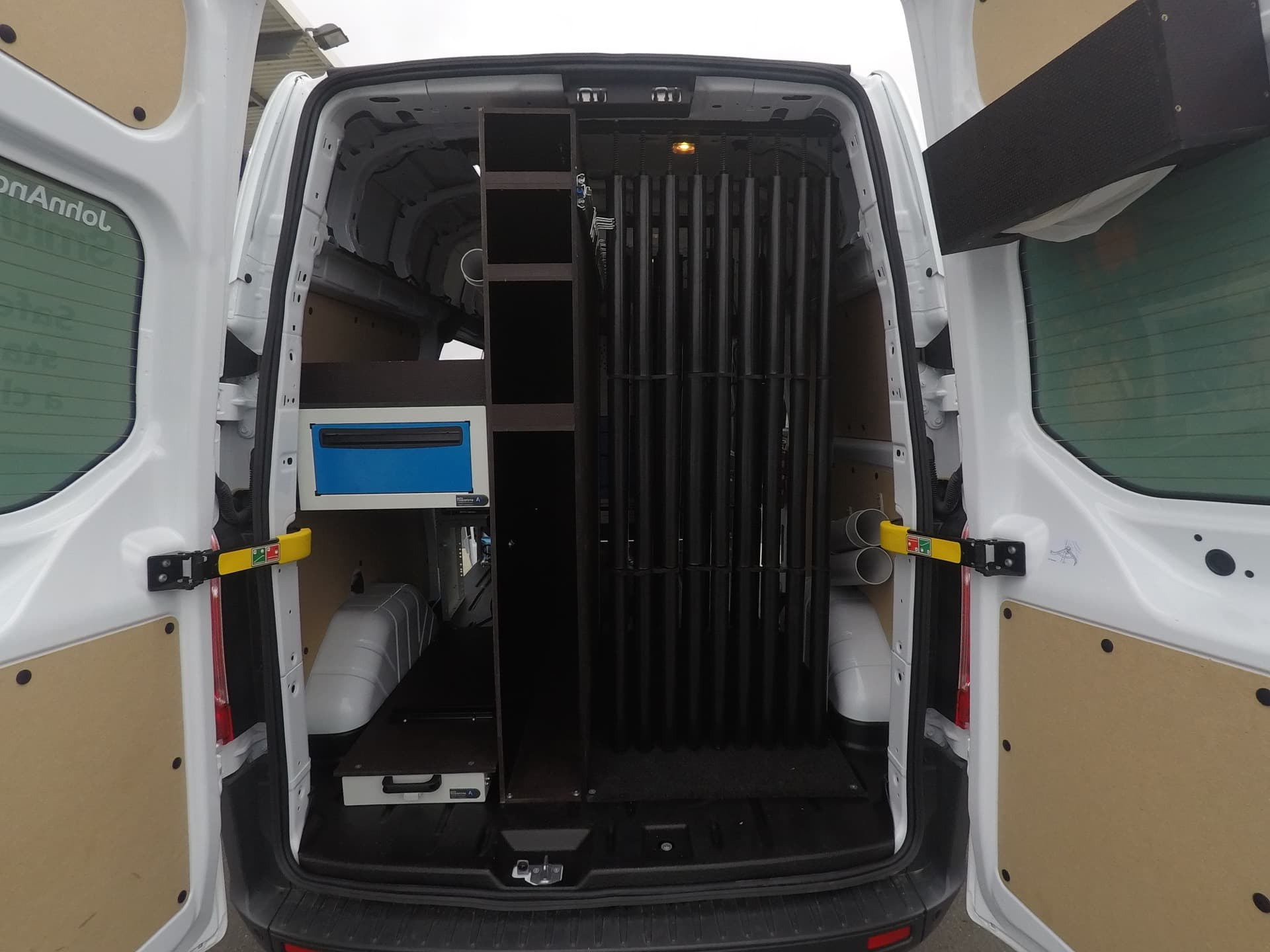 Commercial van fitout using storage to maximise space