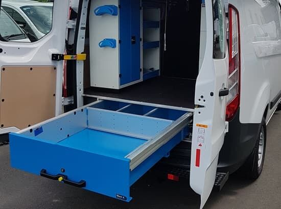 Commercial van fitout with underfloor drawers