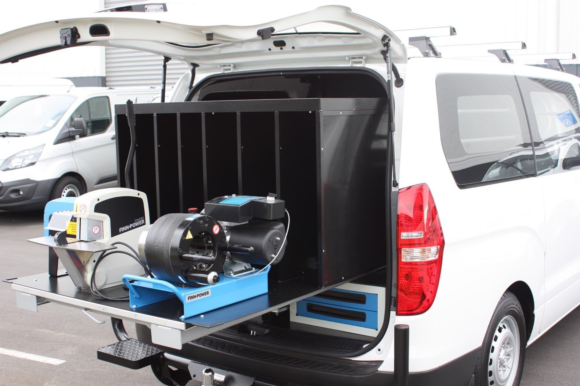 Custom design van with power tool dock