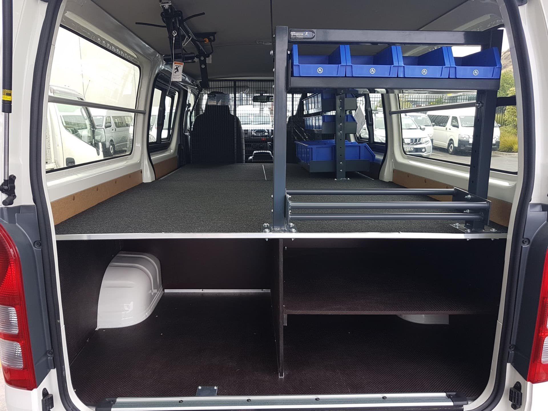 Custom shelving design for van