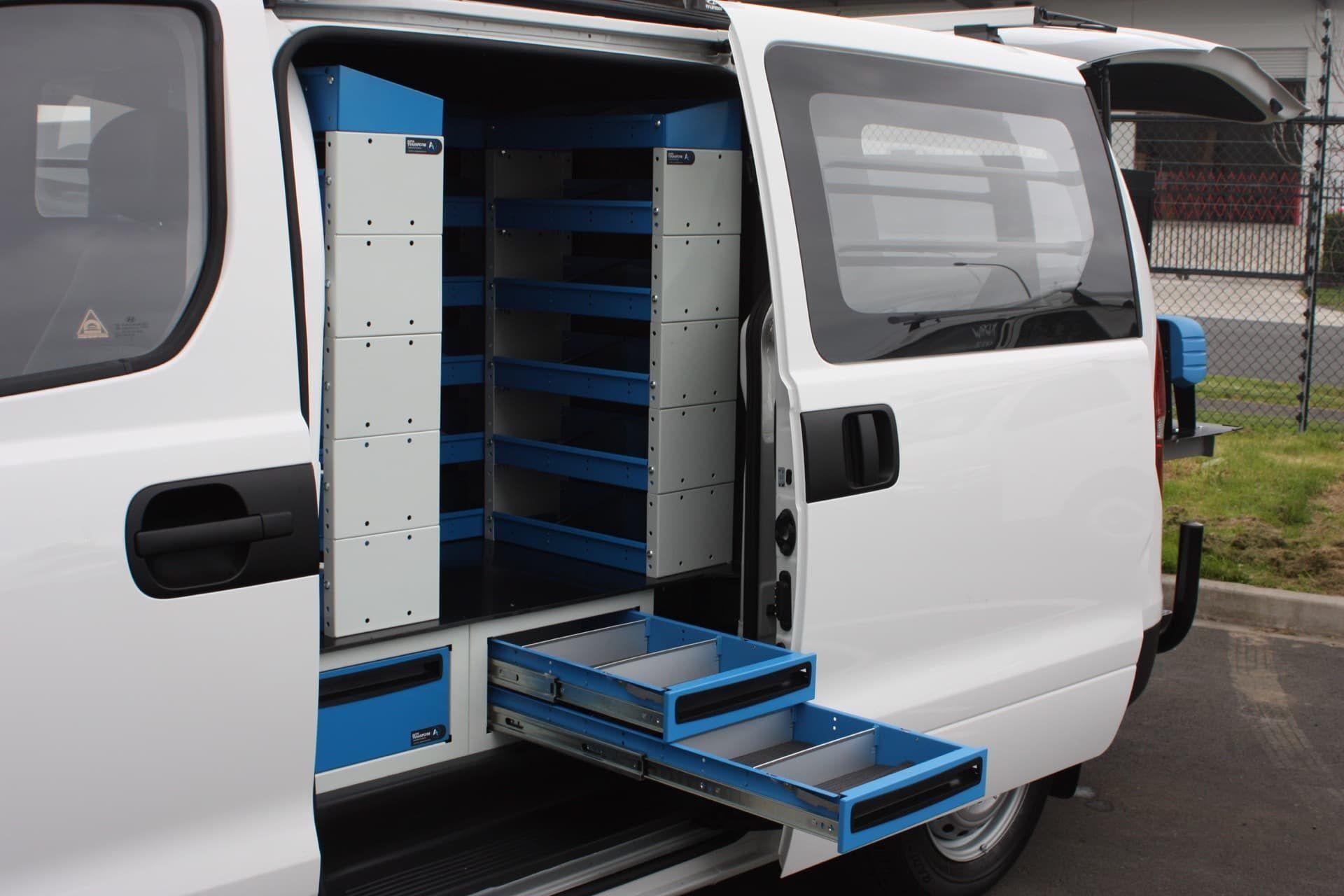 Custom vehicle interior with tool drawers