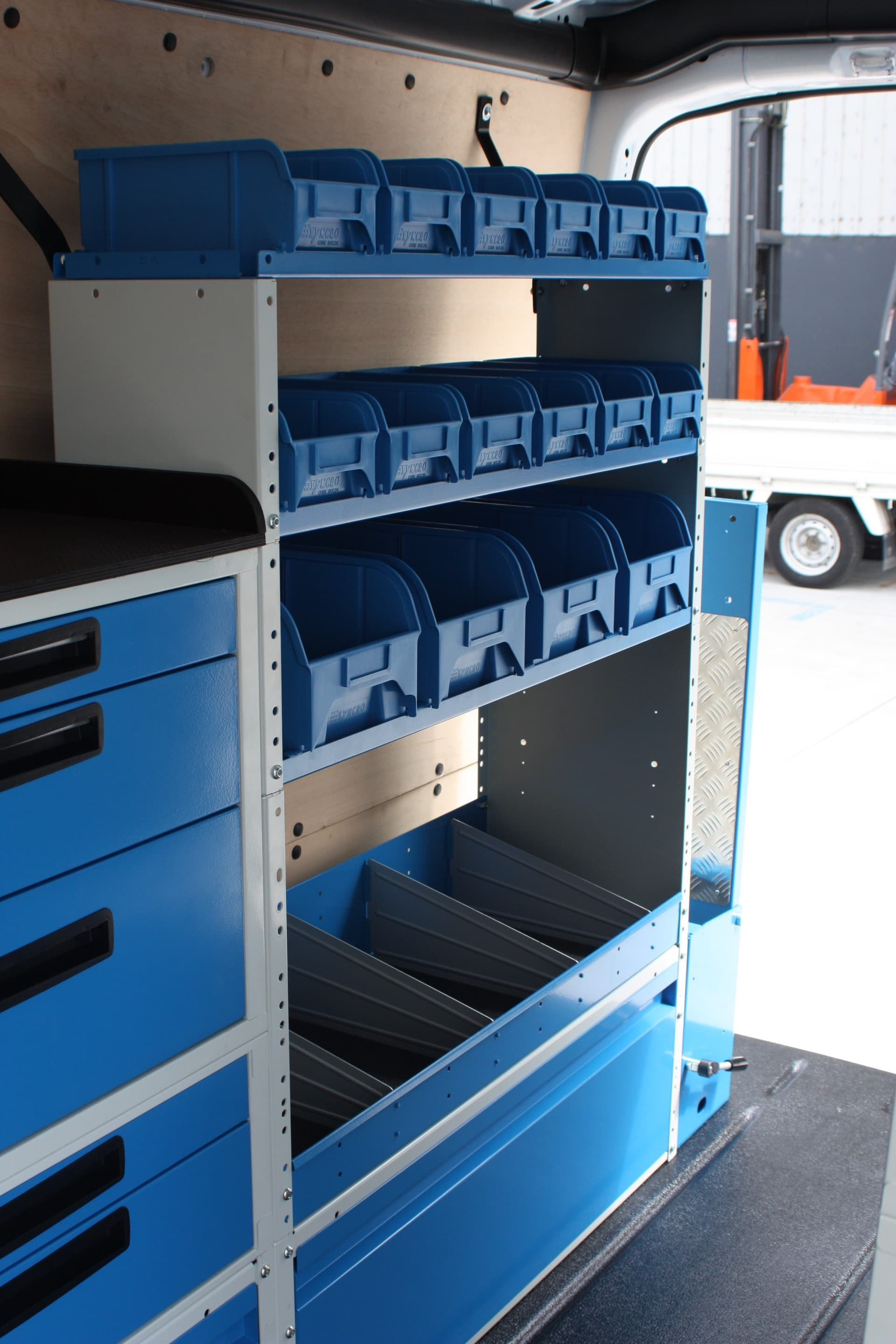Drawers and shelving for vans