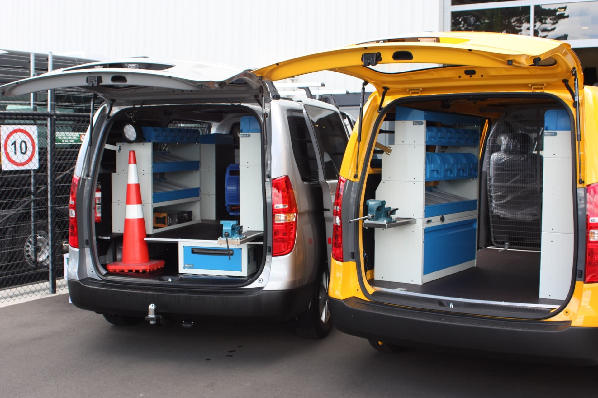 Industrial van fitout with organisation systems