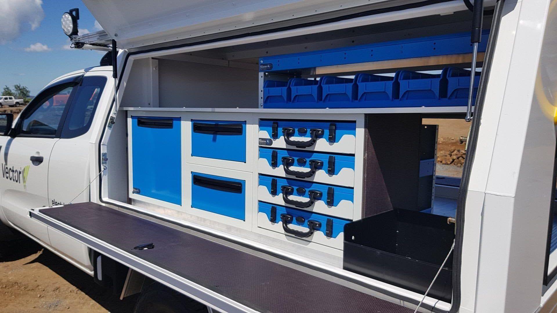 Modular drawers and shelving for utes