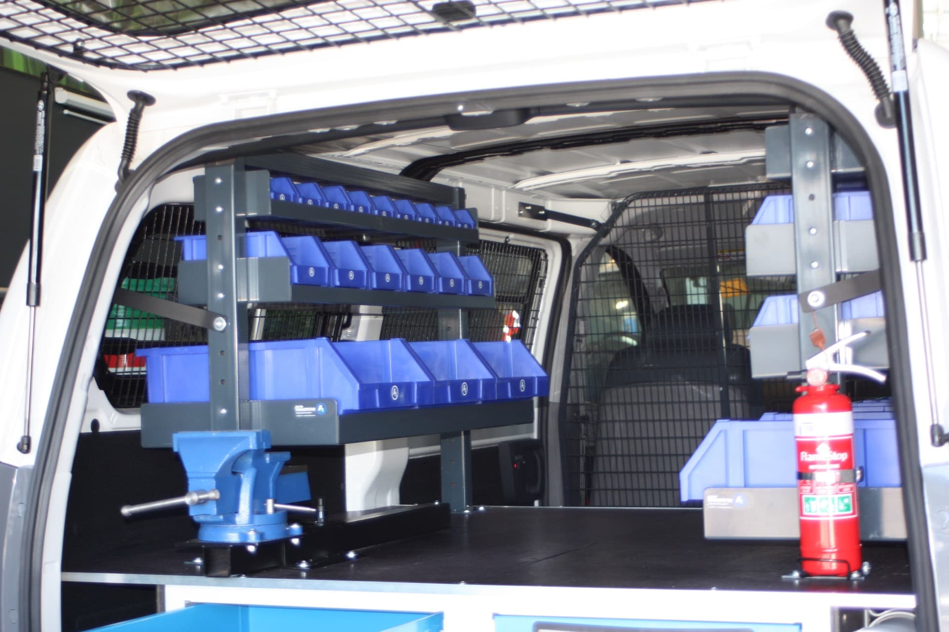 Van fitout with tool drawer storage solutions