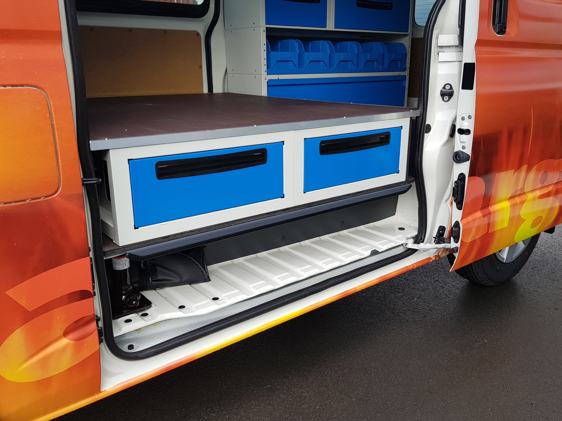 Van with drawers and workspace