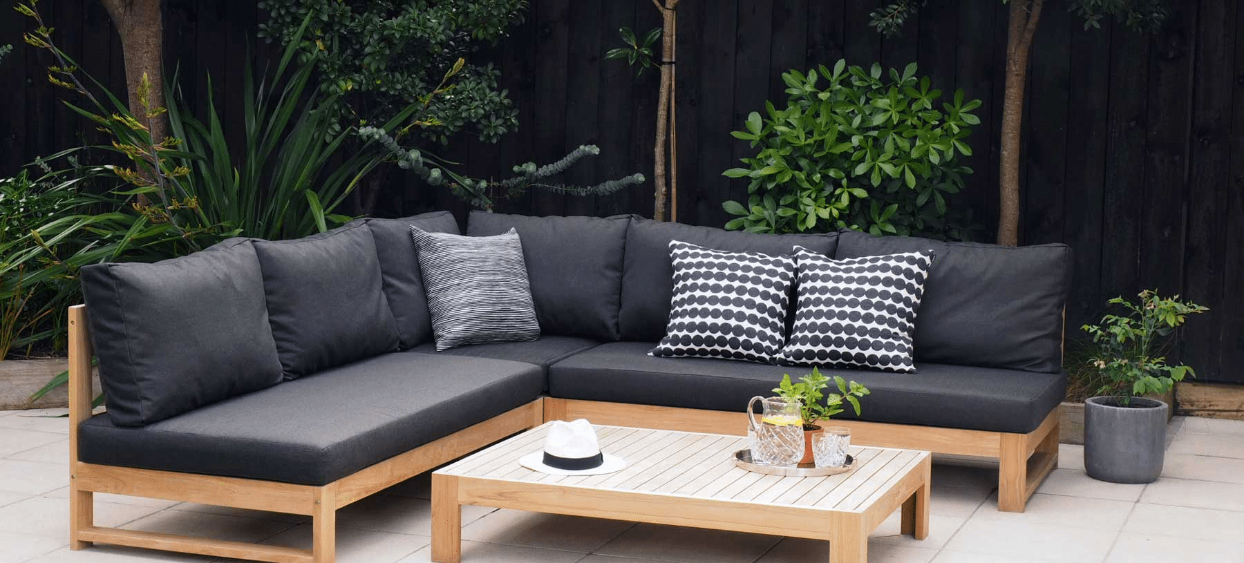 Outdoor Setting with Custom Squabs and Scatter Cushions