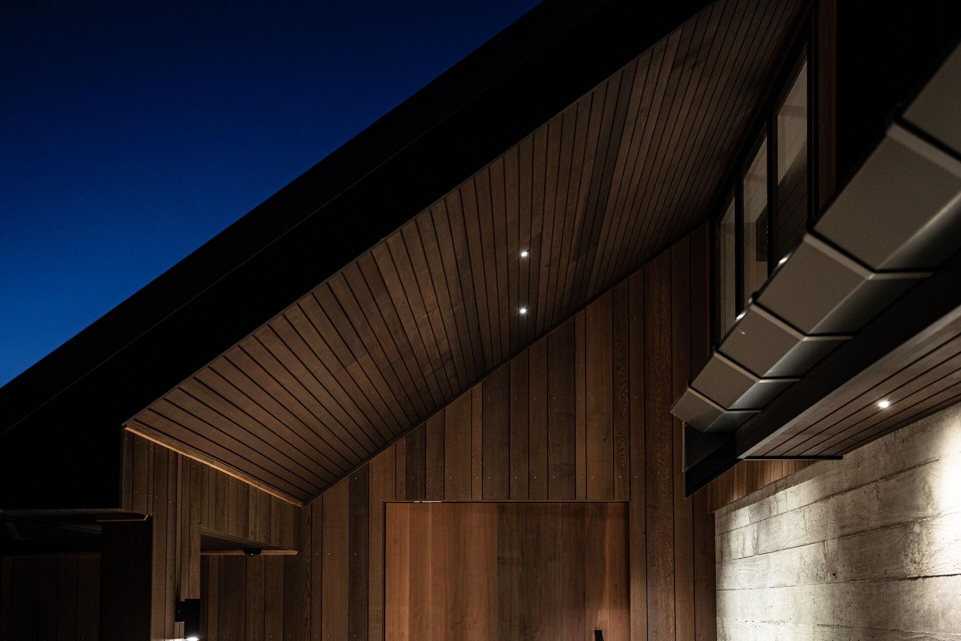 Cedar cladding and boardmark concrete wall and pivot cedar oversized door to match