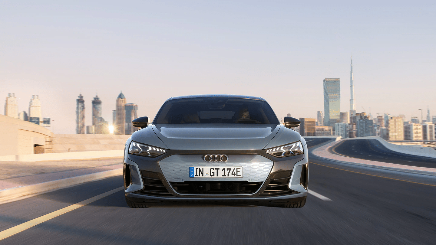 audi etron gt quattro driving front on