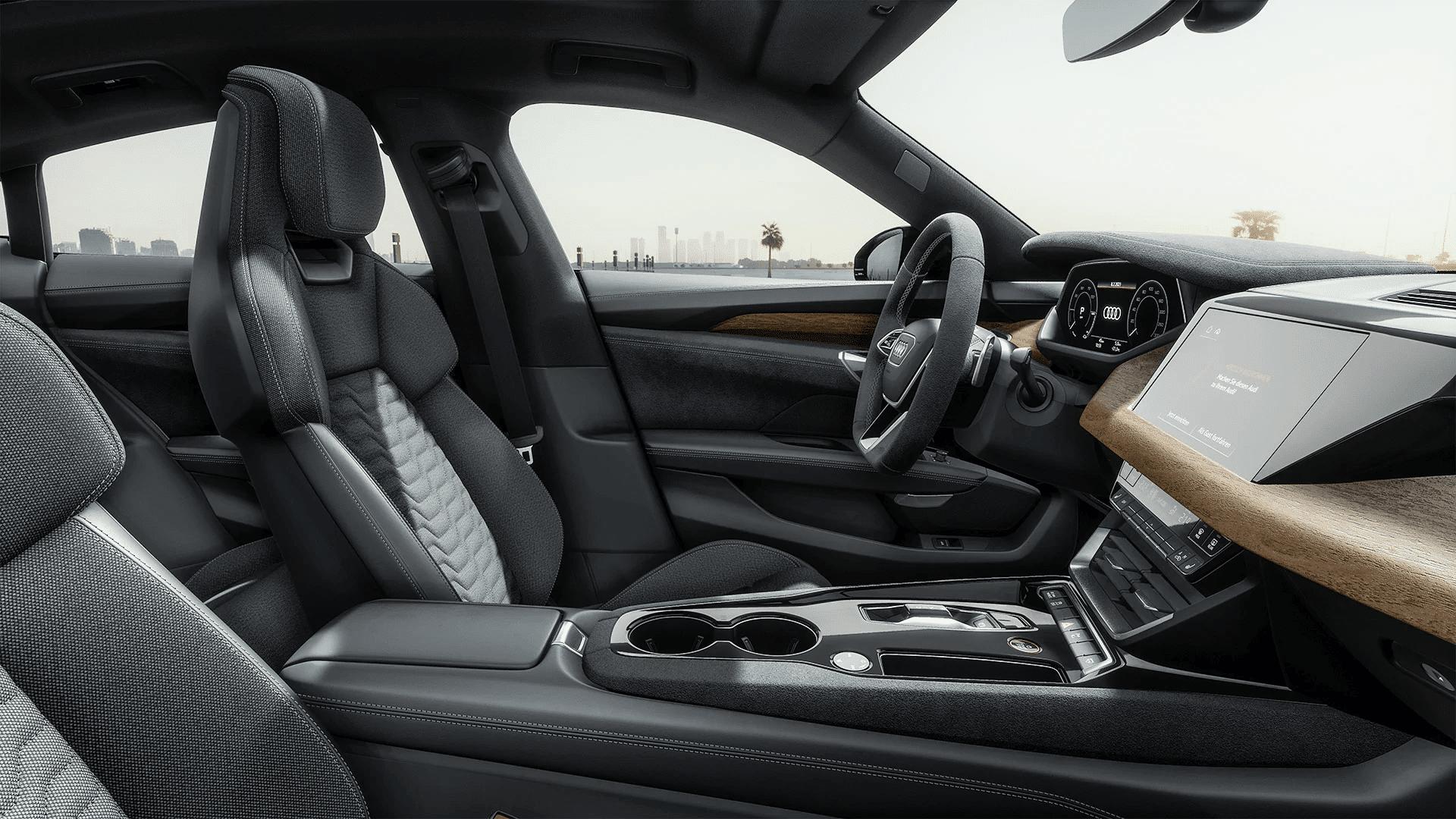 audi etron gt quattro interior from passenger side