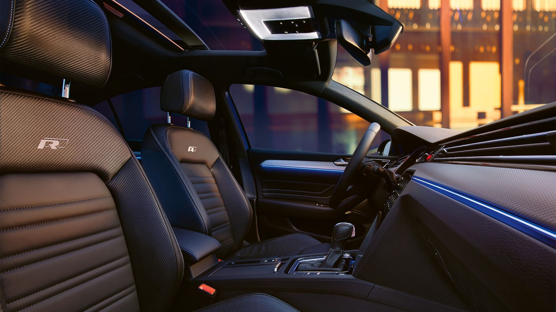 passat r Line interior with front seats and ambient lights