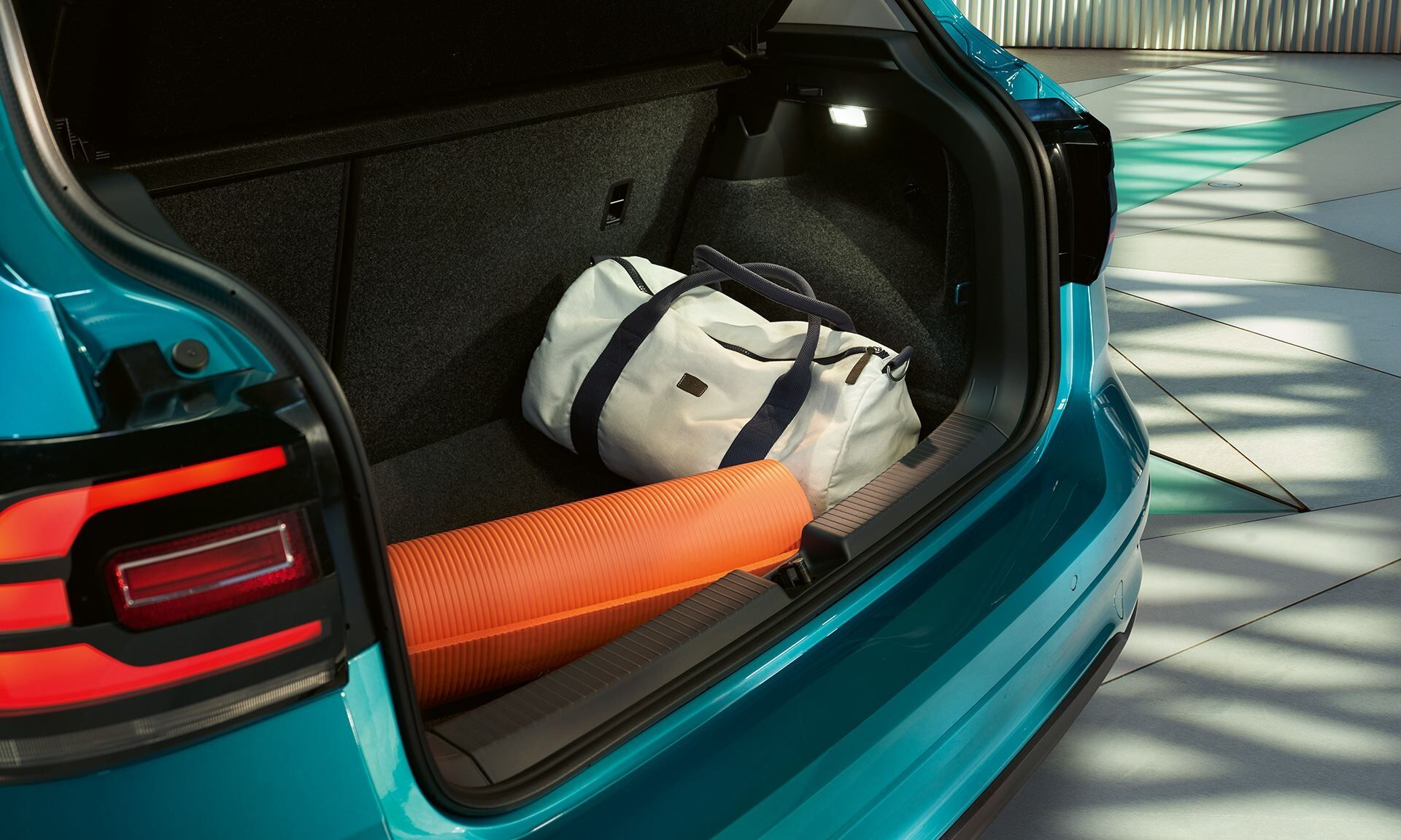 vw t cross open rear luggage compartment with sport luggage