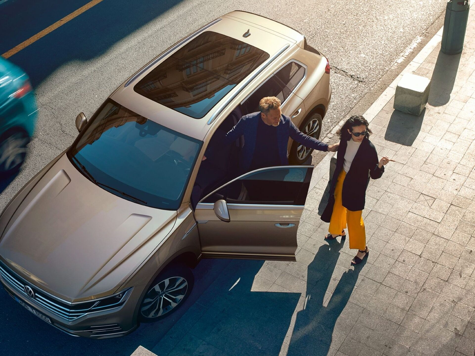 vw touareg one million panoramic roof aerial view