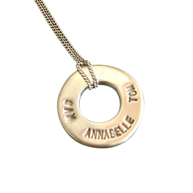 Family Ring Necklace ON Fine Silver Chain