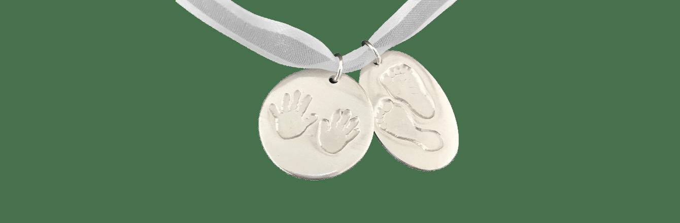 Hand Footprints Heart Necklace on Silver Belcher Chain Banner