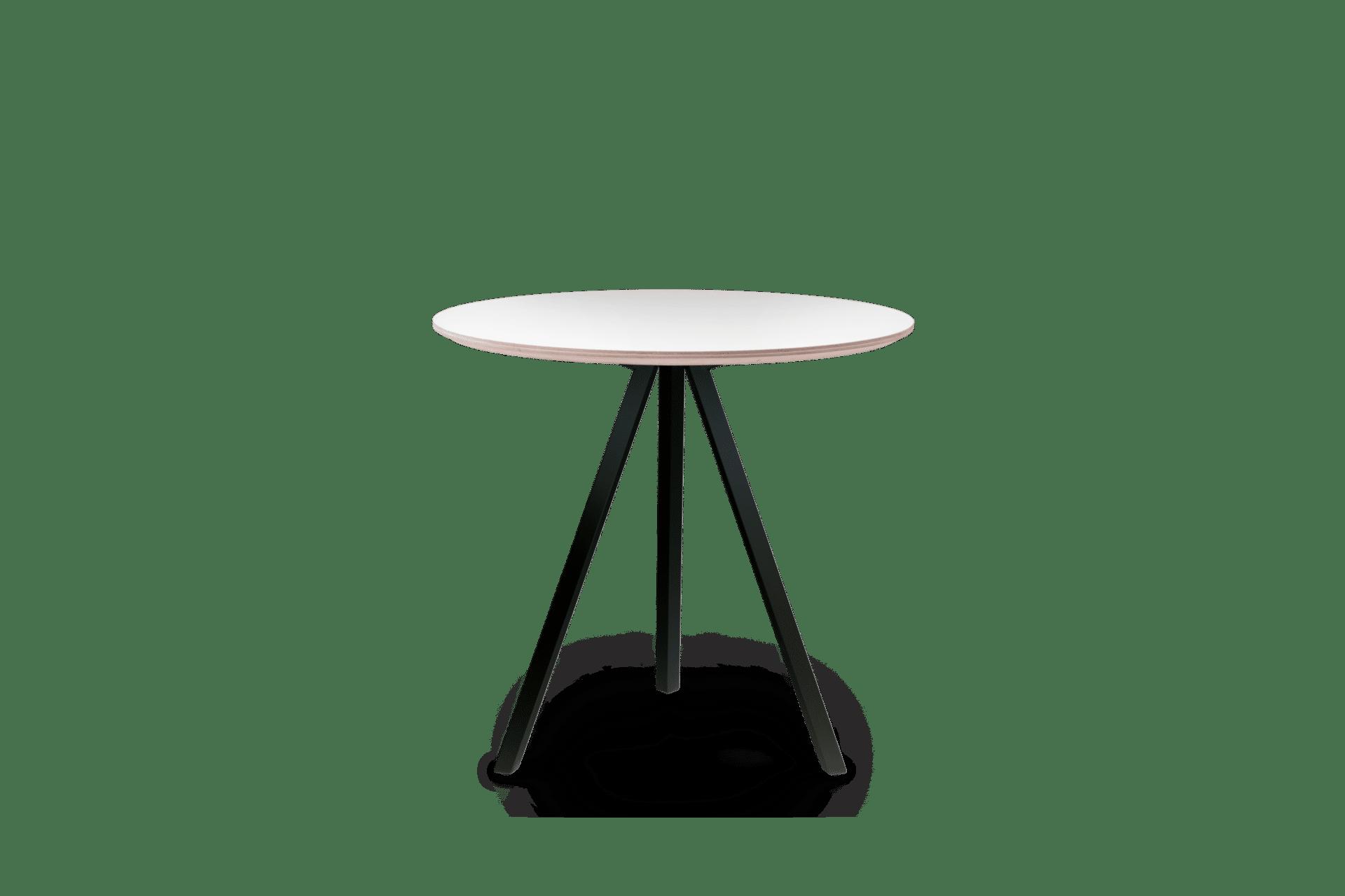 TB Poise Table Round White on Black