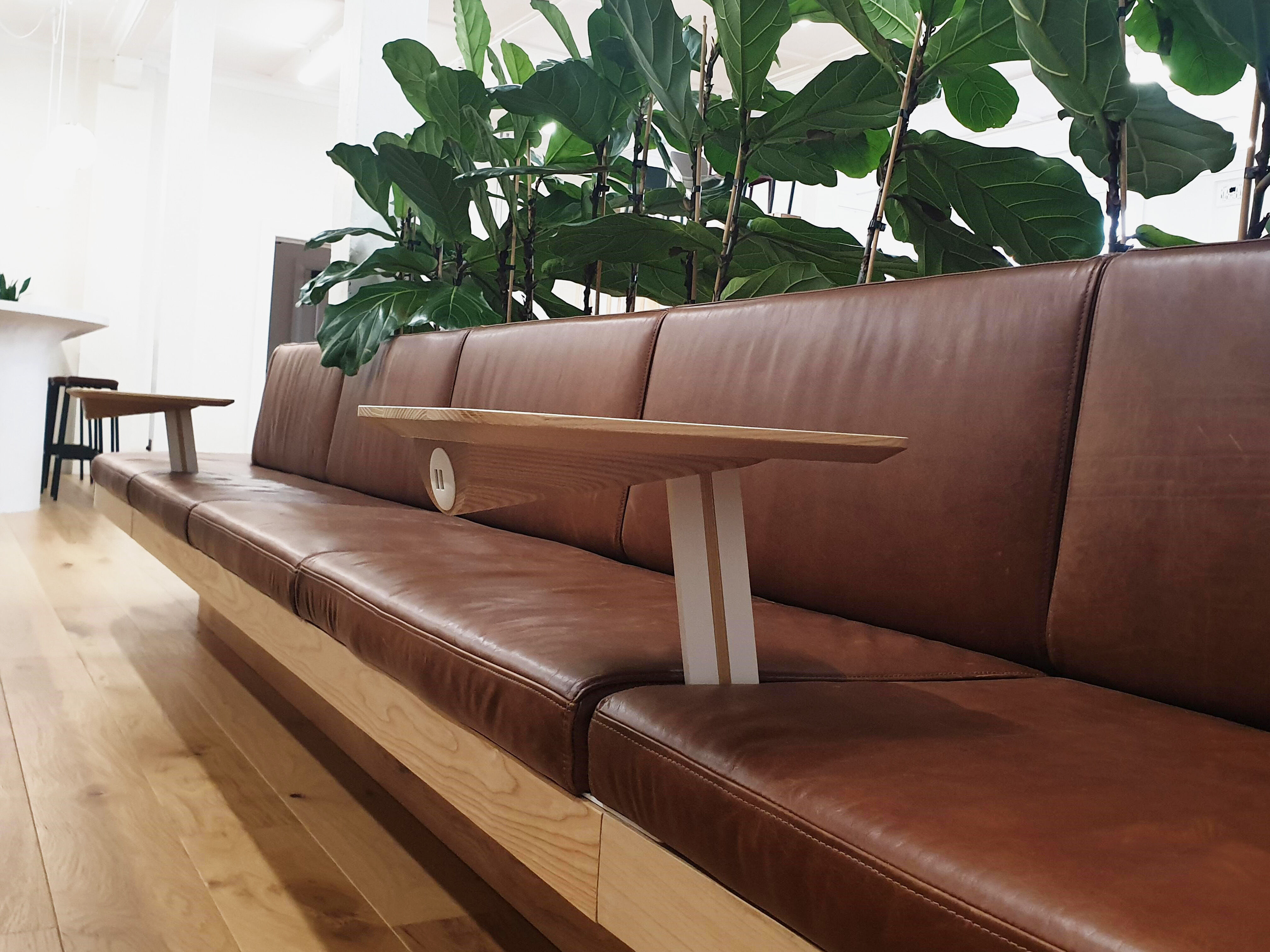 The Banquette Pal integrated into a Ledge Banquette with leather upholstery
