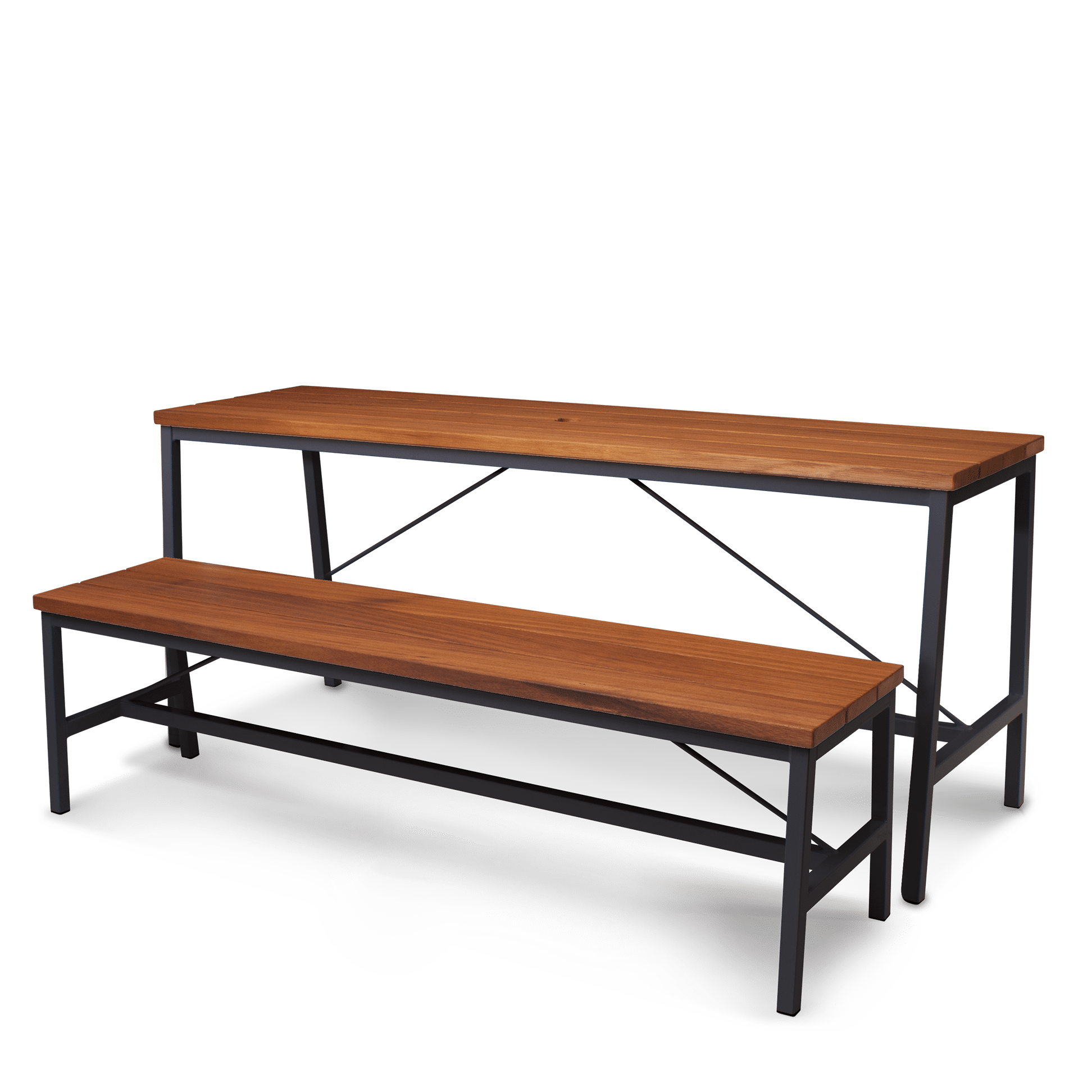 TB Extant Table Galvanised Black with Bench web
