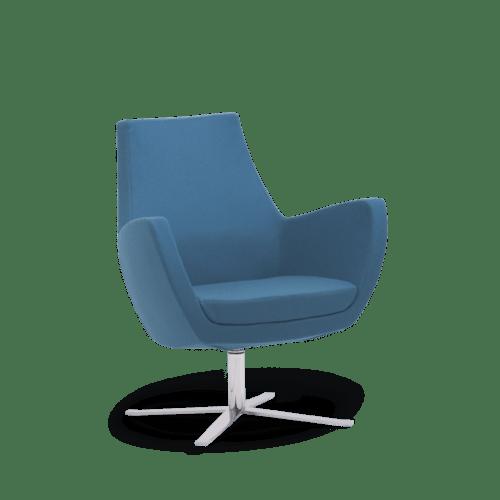 CH Paris Armchair Blue on Chrome Swivel