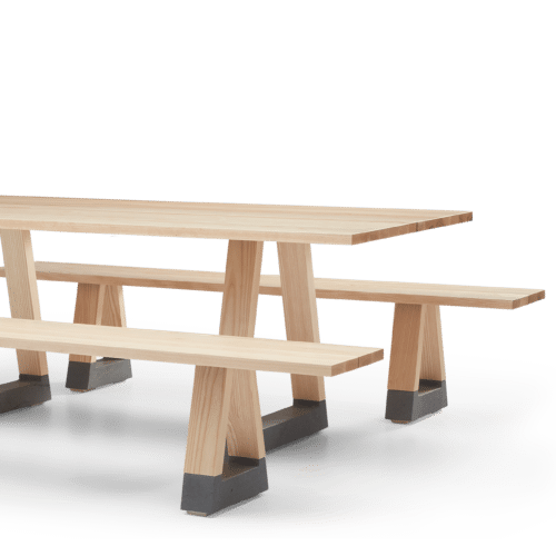 TB Slab Table and Bench Seats Clear Angled