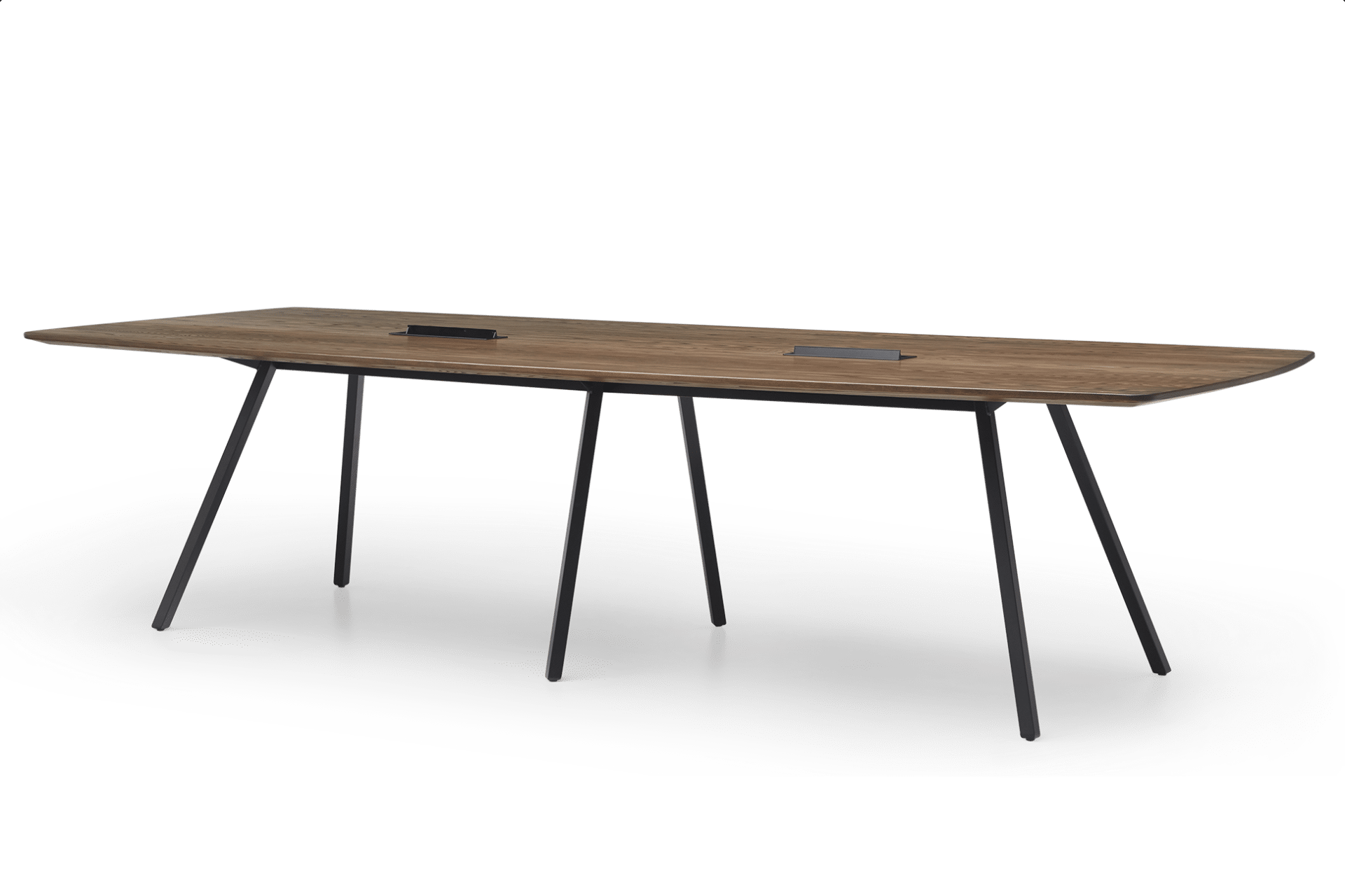 TB Poise Timber Conference Table Flip Power Smoke Angled