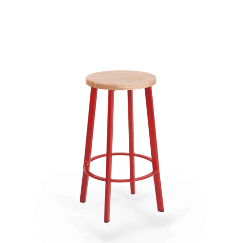 ST Astro Stool  red Frame seat stained clear copy
