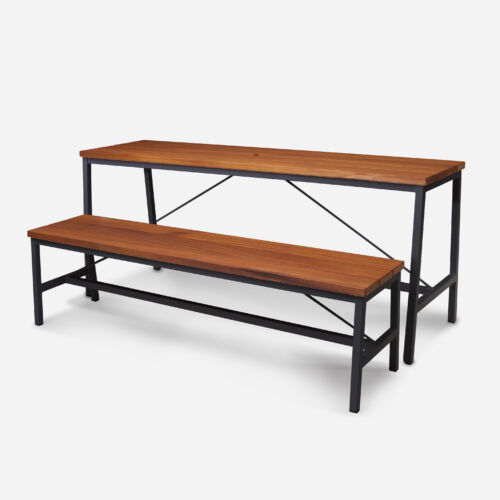 TB Extant Table Galvanised Black with Bench