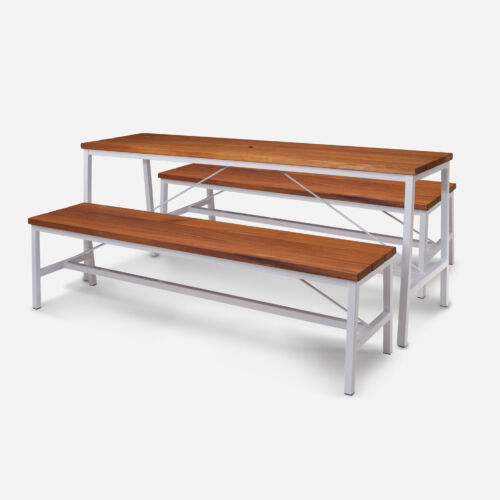 TB Extant Table Galvanised White Bench Setting