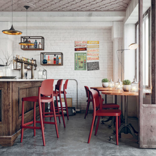 Piazza Stool Chair dark red setting LR