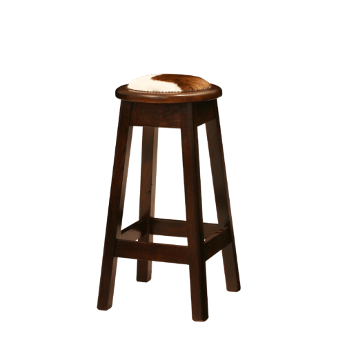 ST Chicago Round Stool Stained Uphol Cow Hide