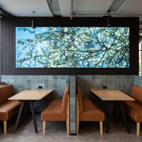 Share Banquettes and Ikon Collaborate Tables form private meeting areas