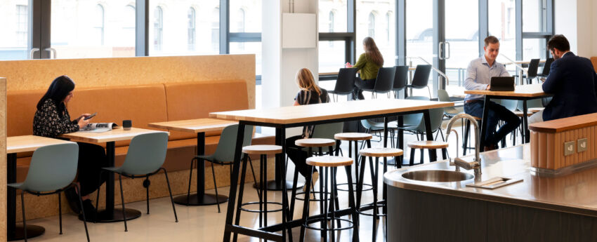 Bespoke leaners and tables create different zones to gather.