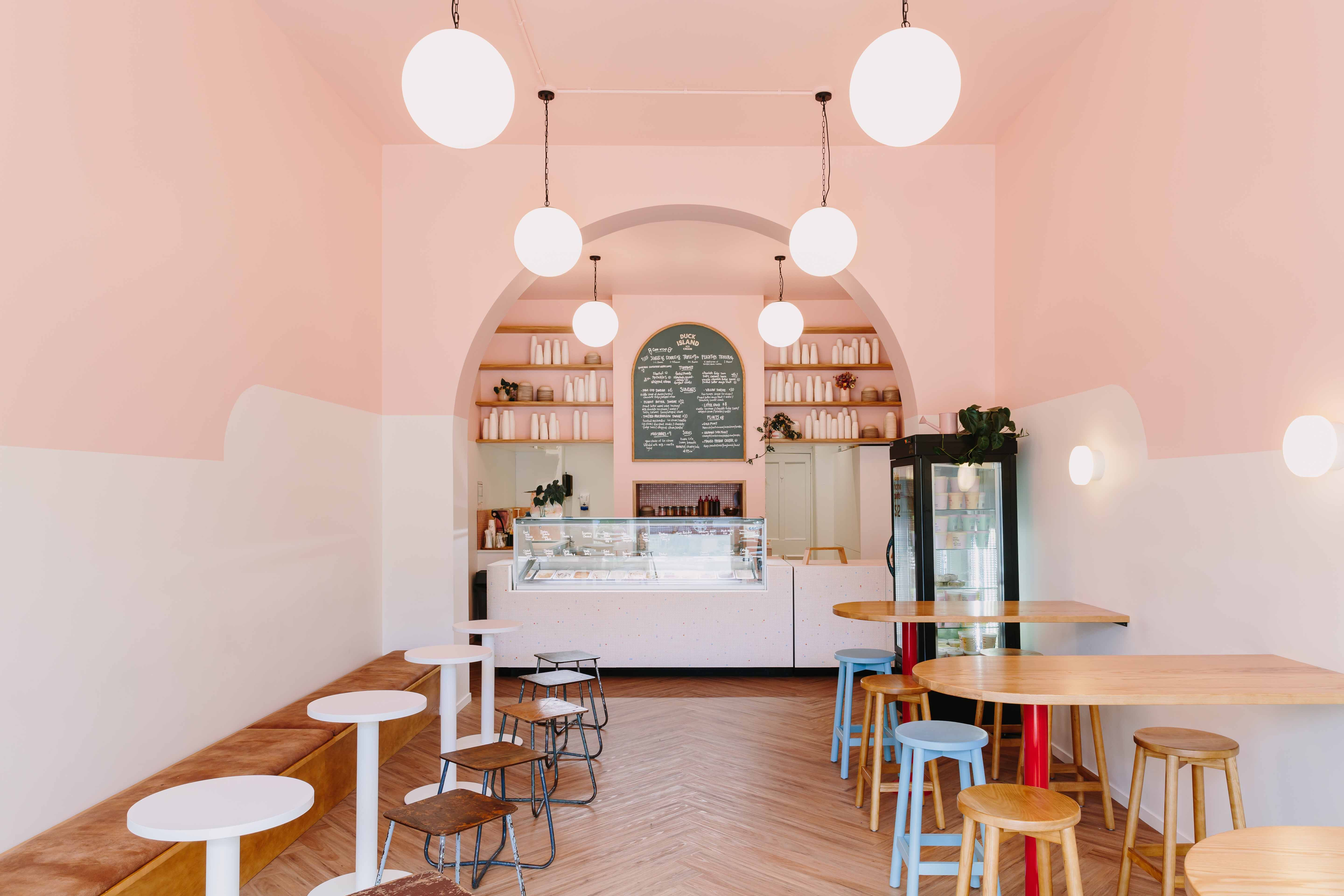 A mix of timber and bespoke laminate tops inside the scoop shop