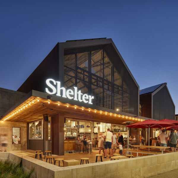 Outdoor seating at Shelter Brewery