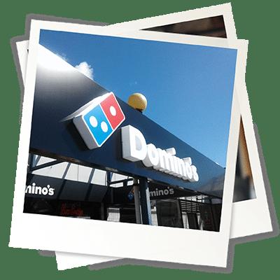 Testimonial Polaroid Dominos Pizza