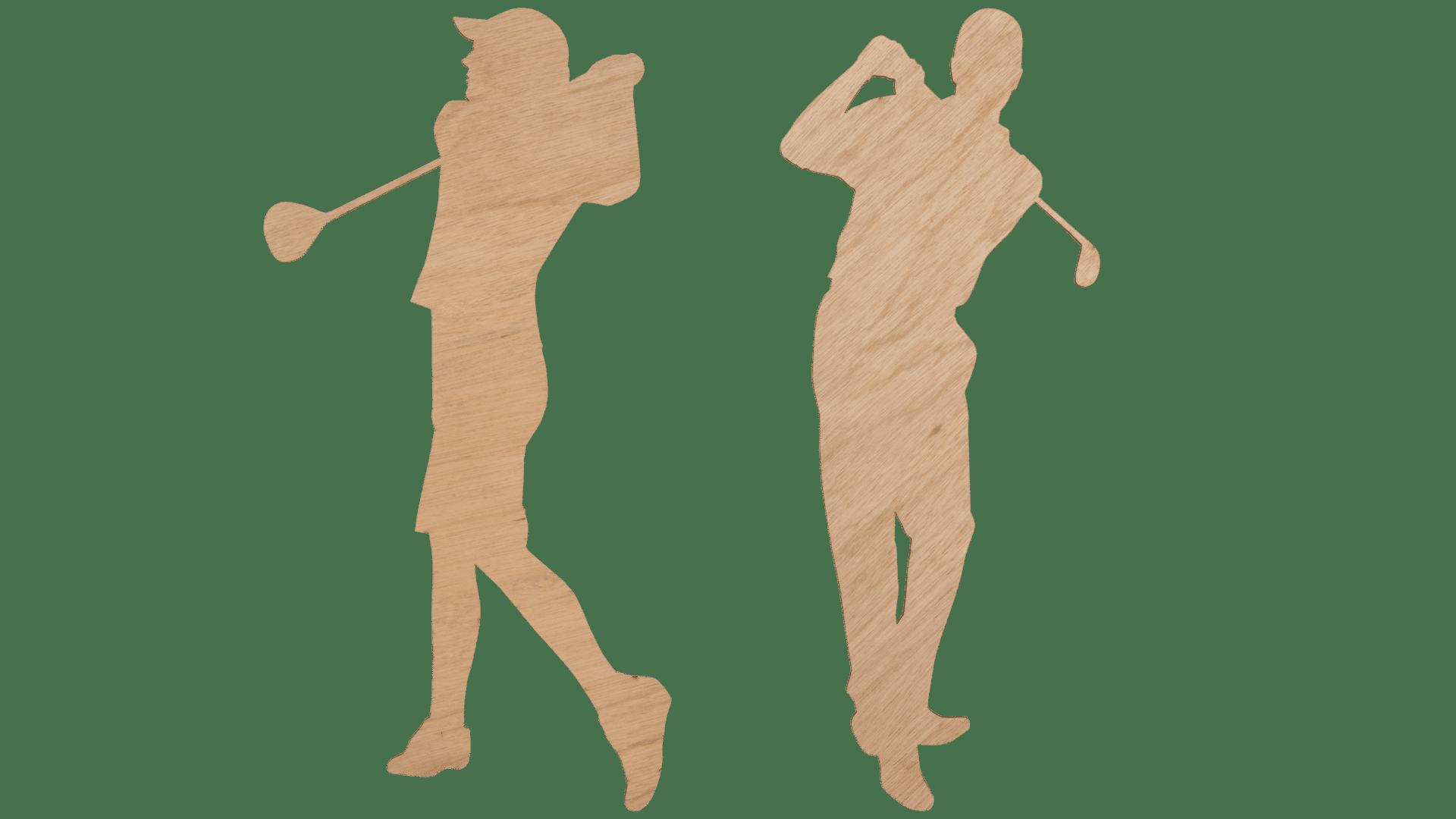 Lady golfer and gentleman golfer
