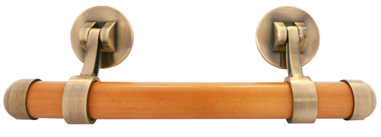 Bronze drop bar handle with solid pine insert with a rimu finish