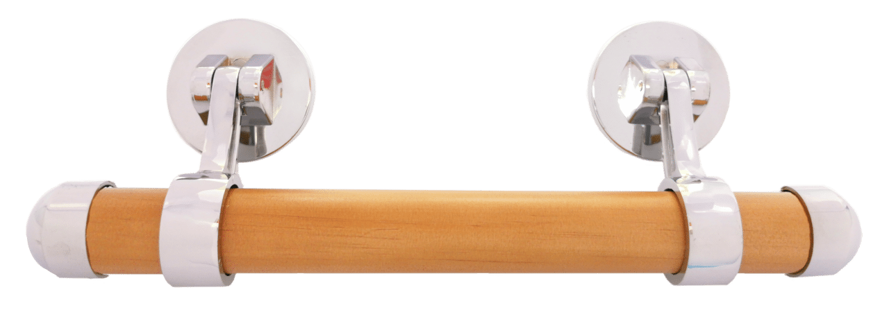Nickel drop bar handle with solid pine insert with a rimu finish