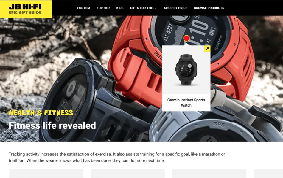 Website design image hotspots