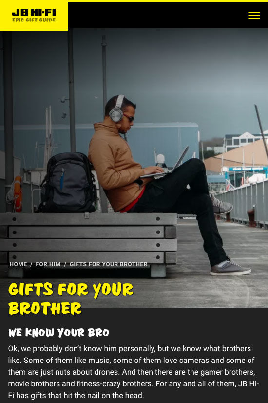 ss jbgiftguide website design home brother mb